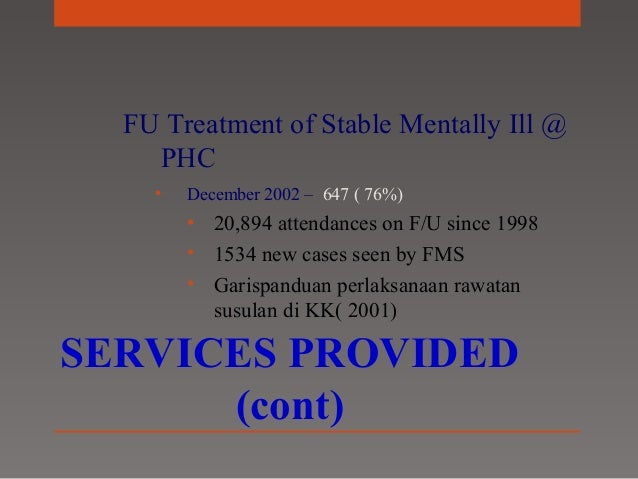 COMMUNITY MENTAL HEALTH SERVICES IN MALAYSIA