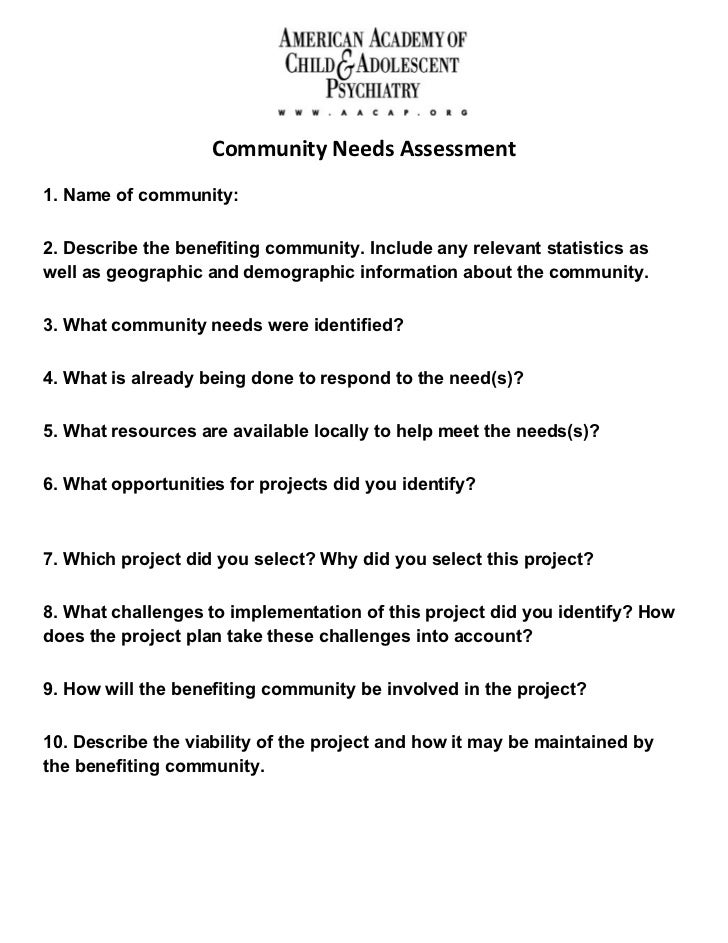Community Needs Assessment Form. Community Needs Assessment1. Name Of  Community:2. Describe The Benefiting Community. Include