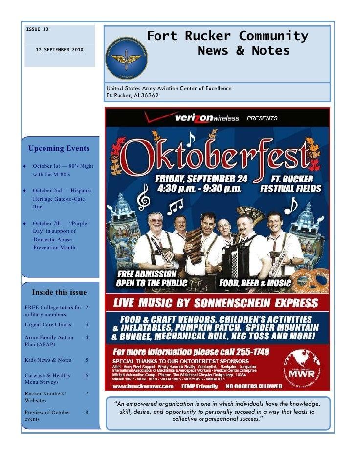 ISSUE 33                                                 Fort Rucker Community       17 SEPTEMBER 2010                    ...