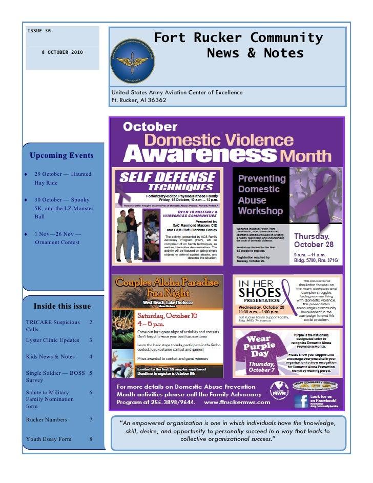 ISSUE 36                                               Fort Rucker Community        8 OCTOBER 2010                        ...