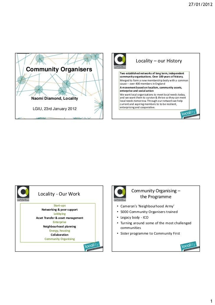 27/01/2012                                                       Locality – our HistoryCommunity Organisers               ...