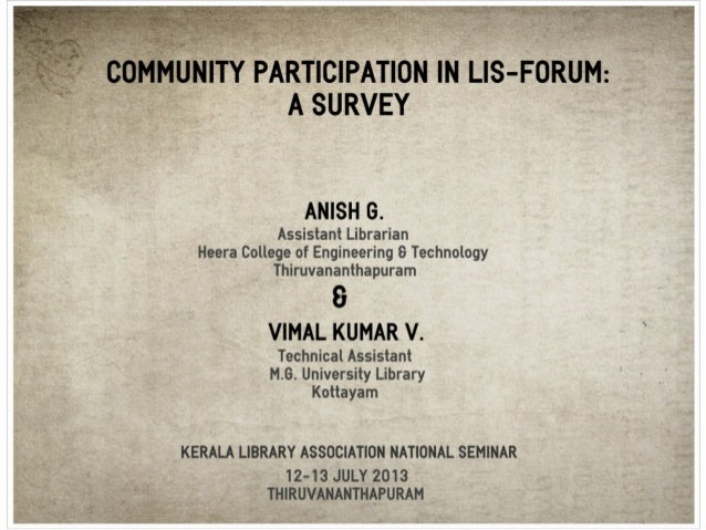 Community participation in lis forum