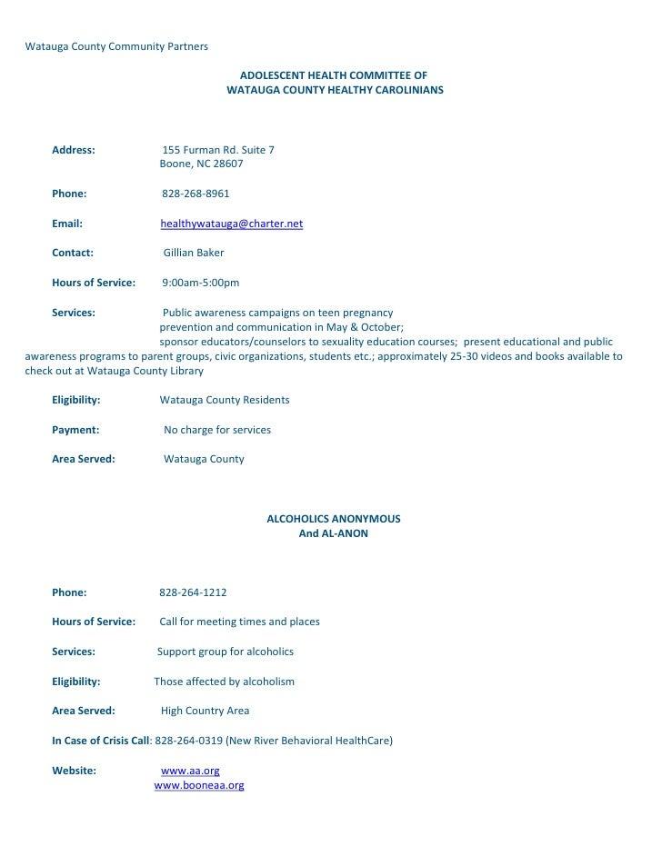 Watauga County Community PartnersADOLESCENT HEALTH COMMITTEE OFWATAUGA COUNTY HEALTHY CAROLINIANS ...