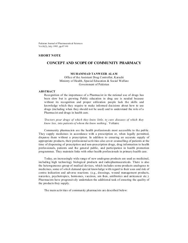 Pakistan Journal of Pharmaceutical SciencesVol.8(2), July 1995, pp.87-90SHORT NOTE        CONCEPT AND SCOPE OF COMMUNITY P...