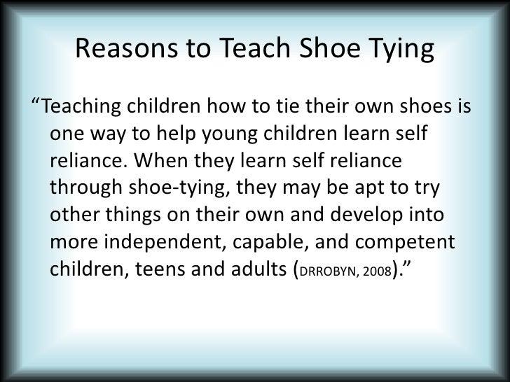 Using backwards chaining to teach shoe tying ccuart Choice Image