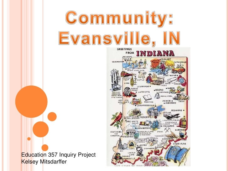 Community:<br />Evansville, IN<br />Education 357 Inquiry Project<br />Kelsey Mitsdarffer<br />
