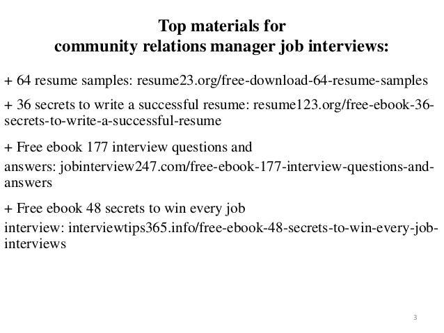 Community relations manager resume sample pdf ebook free download