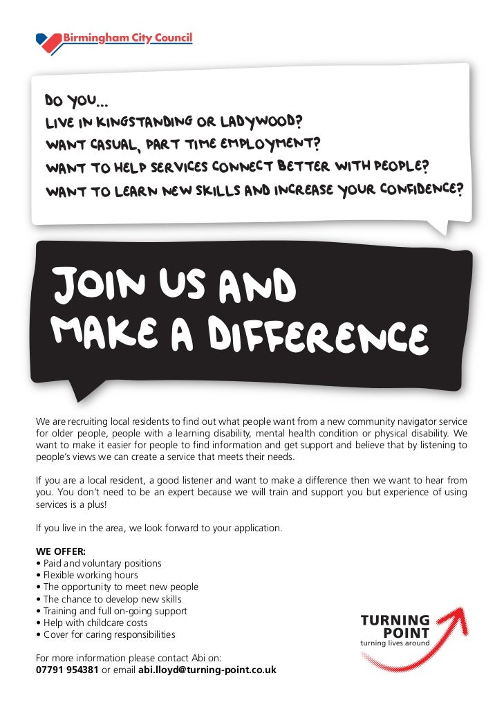DO YOU...  LIVE IN KINGSTANDING OR LADYWOOD?  WANT CASUAL, PART TIME EMPLOYMENT?  WANT TO HELP SERVICES CONNECT BETTER WIT...