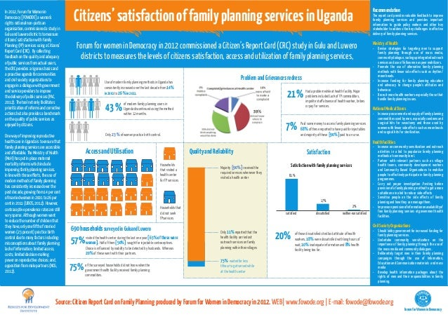 Citizens' satisfaction of family planning services in UgandaIn 2012, Forum for Women in                                   ...