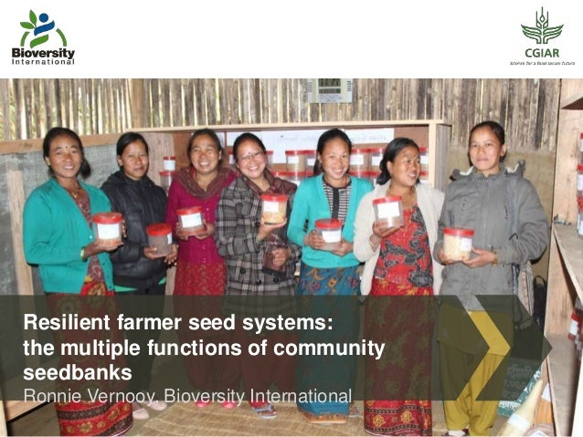 Resilient farmer seed systems: the multiple functions of community seedbanks Ronnie Vernooy, Bioversity International