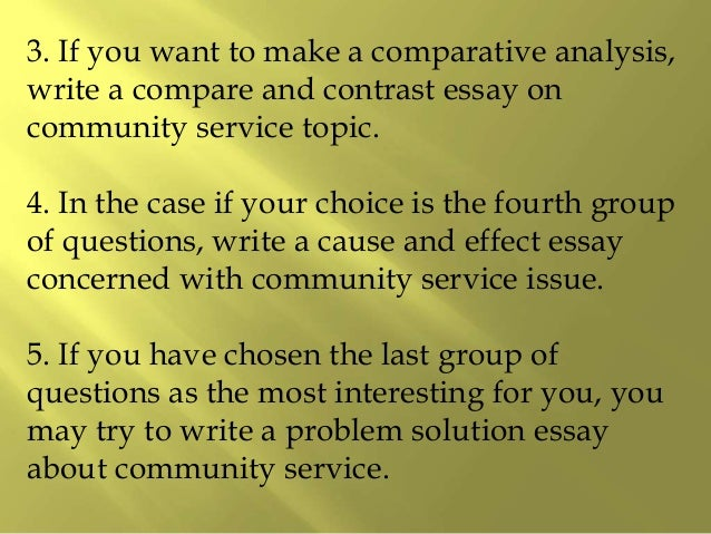 Essay and community service