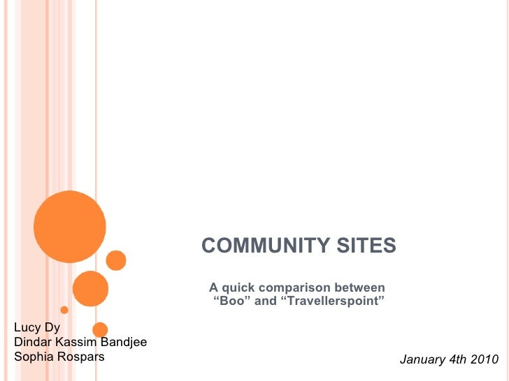 """COMMUNITY SITES A quick comparison between  """" Boo"""" and """"Travellerspoint"""" Lucy Dy Dindar Kassim Bandjee Sophia Rospars Janu..."""