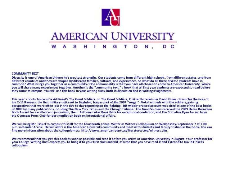 COMMUNITY TEXTDiversity is one of American University's greatest strengths. Our students come from different high schools,...