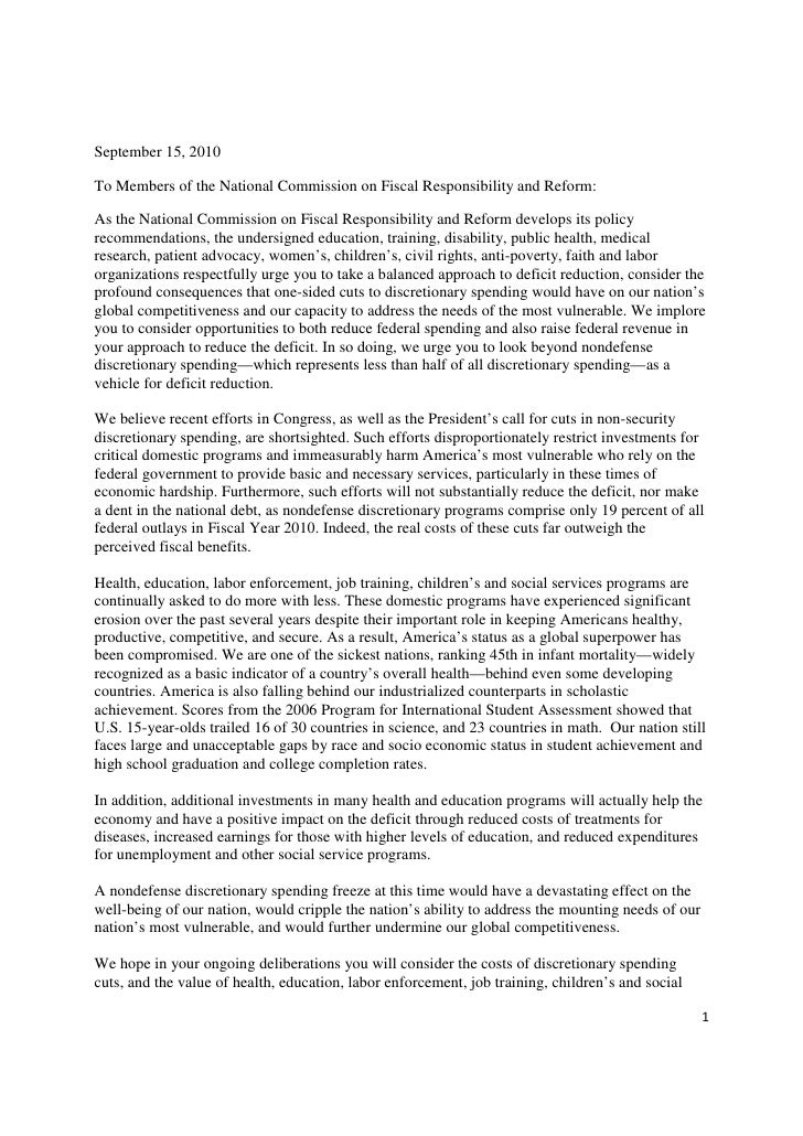 September 15, 2010  To Members of the National Commission on Fiscal Responsibility and Reform:  As the National Commission...