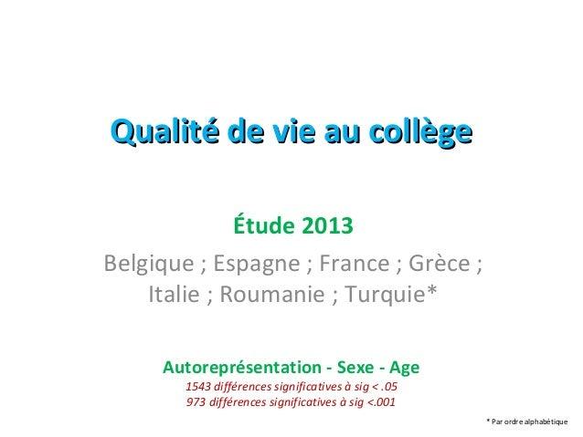 QQuuaalliittéé ddee vviiee aauu ccoollllèèggee  Étude 2013  Belgique ; Espagne ; France ; Grèce ;  Italie ; Roumanie ; Tur...