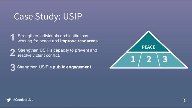 Case Study: USIP PEACEPEACE Strengthen individuals and institutions working for peace and improve resources. Strengthen US...