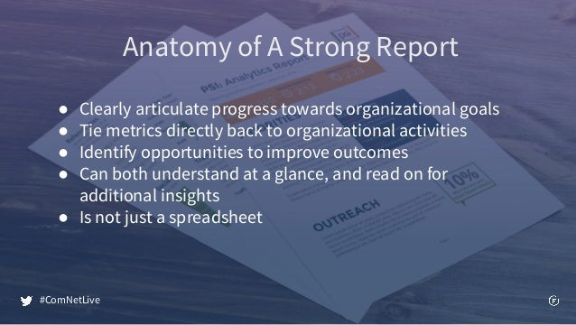 Anatomy of A Strong Report ● Clearly articulate progress towards organizational goals ● Tie metrics directly back to organ...