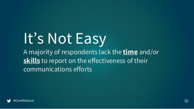 It's Not Easy A majority of respondents lack the time and/or skills to report on the effectiveness of their communications...