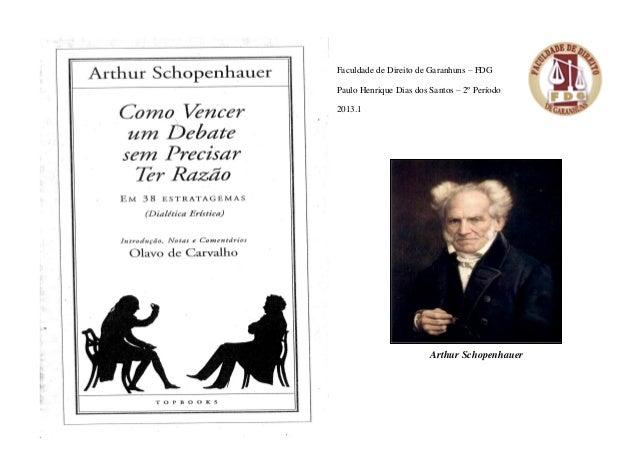 Faculdade de Direito de Garanhuns – FDG Paulo Henrique Dias dos Santos – 2º Período 2013.1  Arthur Schopenhauer