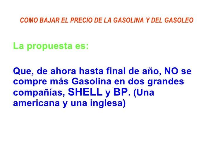 El precio de la gasolina en ptk por el litro