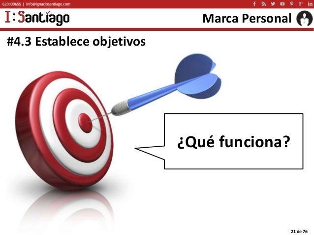 Copyright © 2015 Ignacio Santiago 21 de 76 Marca Personal #4.3 Establece objetivos ¿Qué funciona?