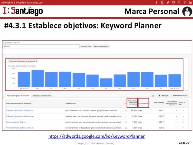 Copyright © 2015 Ignacio Santiago 22 de 76 Marca Personal #4.3.1 Establece objetivos: Keyword Planner https://adwords.goog...