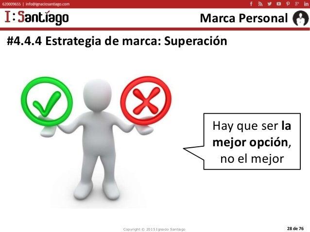 Copyright © 2015 Ignacio Santiago 28 de 76 Marca Personal #4.4.4 Estrategia de marca: Superación Hay que ser la mejor opci...