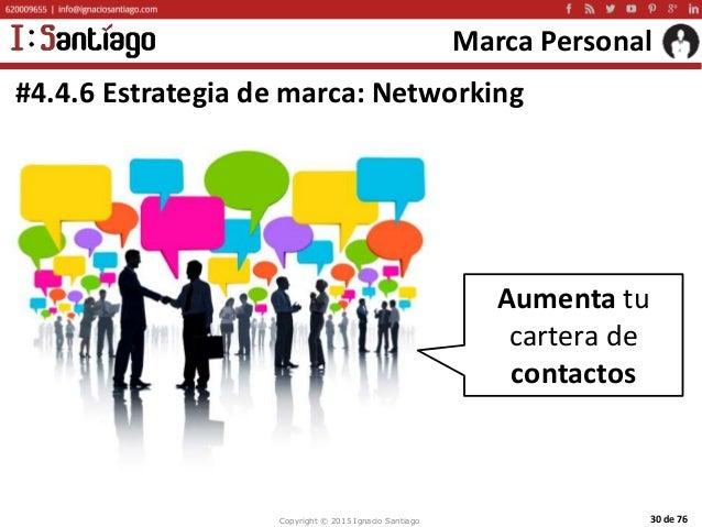 Copyright © 2015 Ignacio Santiago 30 de 76 Marca Personal #4.4.6 Estrategia de marca: Networking Aumenta tu cartera de con...