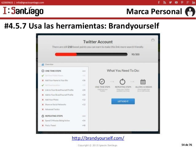 Copyright © 2015 Ignacio Santiago 54 de 76 Marca Personal #4.5.7 Usa las herramientas: Brandyourself http://brandyourself....