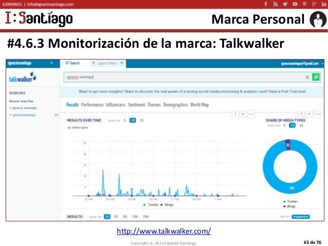 Copyright © 2015 Ignacio Santiago 63 de 76 Marca Personal #4.6.3 Monitorización de la marca: Talkwalker http://www.talkwal...