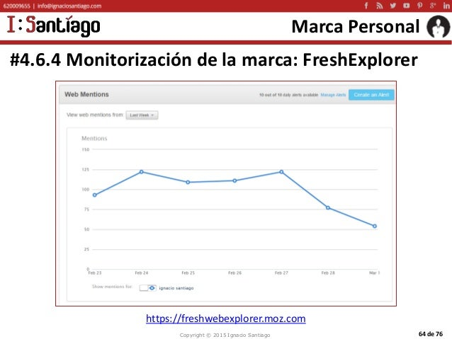 Copyright © 2015 Ignacio Santiago 64 de 76 Marca Personal #4.6.4 Monitorización de la marca: FreshExplorer https://freshwe...