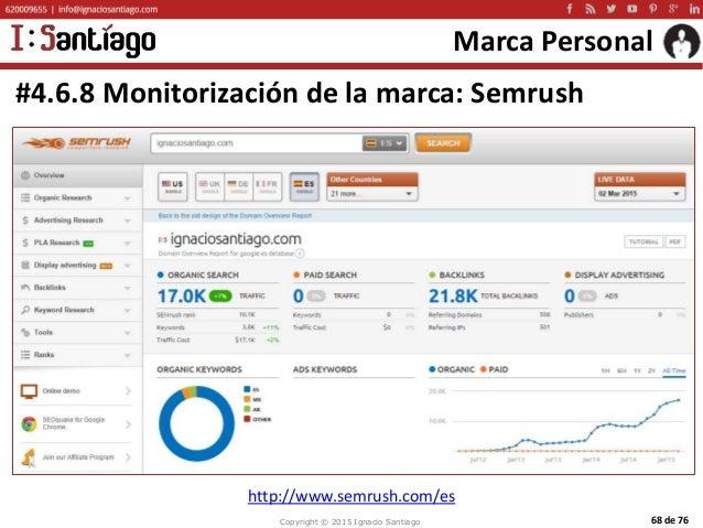 Copyright © 2015 Ignacio Santiago 68 de 76 Marca Personal #4.6.8 Monitorización de la marca: Semrush http://www.semrush.co...