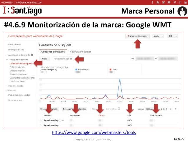 Copyright © 2015 Ignacio Santiago 69 de 76 Marca Personal #4.6.9 Monitorización de la marca: Google WMT https://www.google...