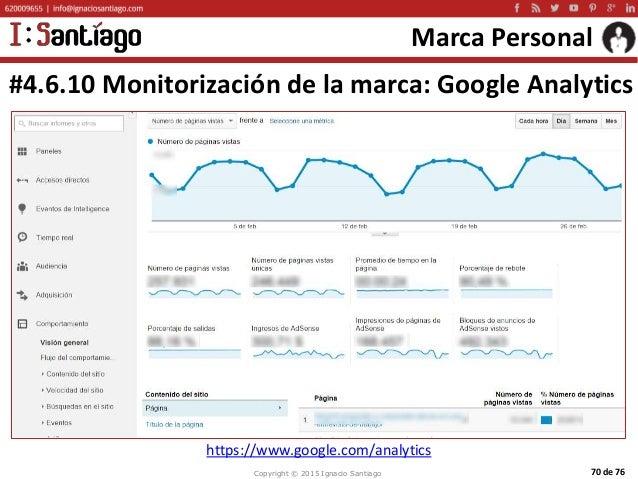 Copyright © 2015 Ignacio Santiago 70 de 76 Marca Personal #4.6.10 Monitorización de la marca: Google Analytics https://www...