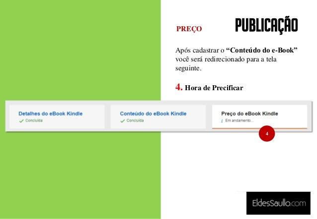 """PUBLICAÇÃO Após cadastrar o """"Conteúdo do e-Book"""" você será redirecionado para a tela seguinte. 4. Hora de Precificar PREÇO..."""