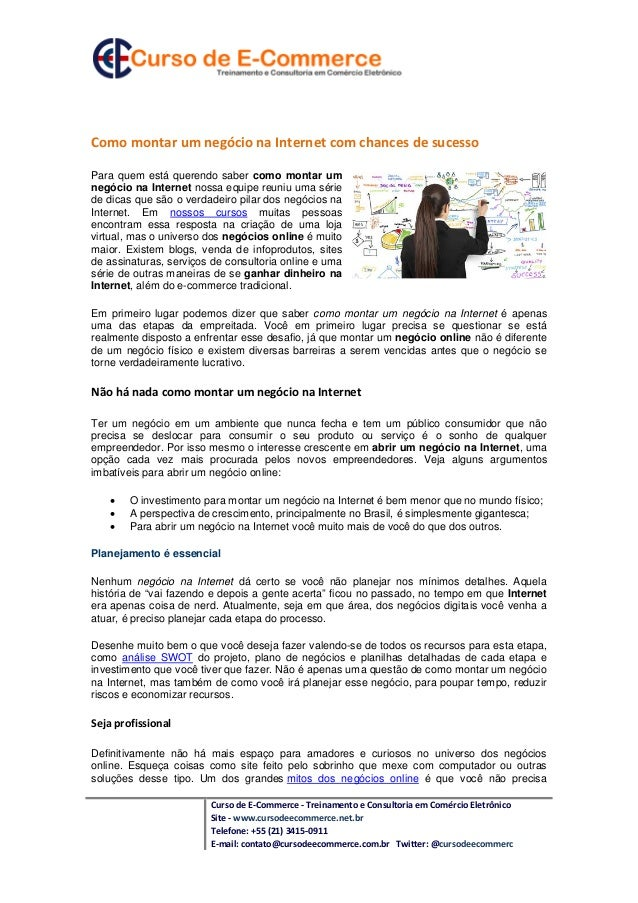 Curso de E-Commerce - Treinamento e Consultoria em Comércio Eletrônico Site - www.cursodeecommerce.net.br Telefone: +55 (2...