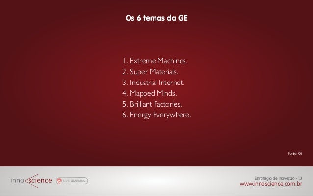 Os 6 temas da GE LIVE LEARNING www.innoscience.com.br Estratégia de Inovação - 13 Fonte: GE 1. Extreme Machines. 2. Super ...