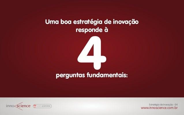 LIVE LEARNING Uma boa estratégia de inovação responde à 4perguntas fundamentais: Gestão de Projetos Inovadores - 00 www.in...