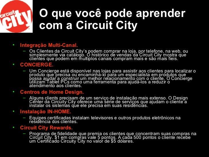 O que você pode aprender com a Circuit City <ul><li>Integração Multi-Canal.   </li></ul><ul><ul><li>Os Clientes da Circuit...