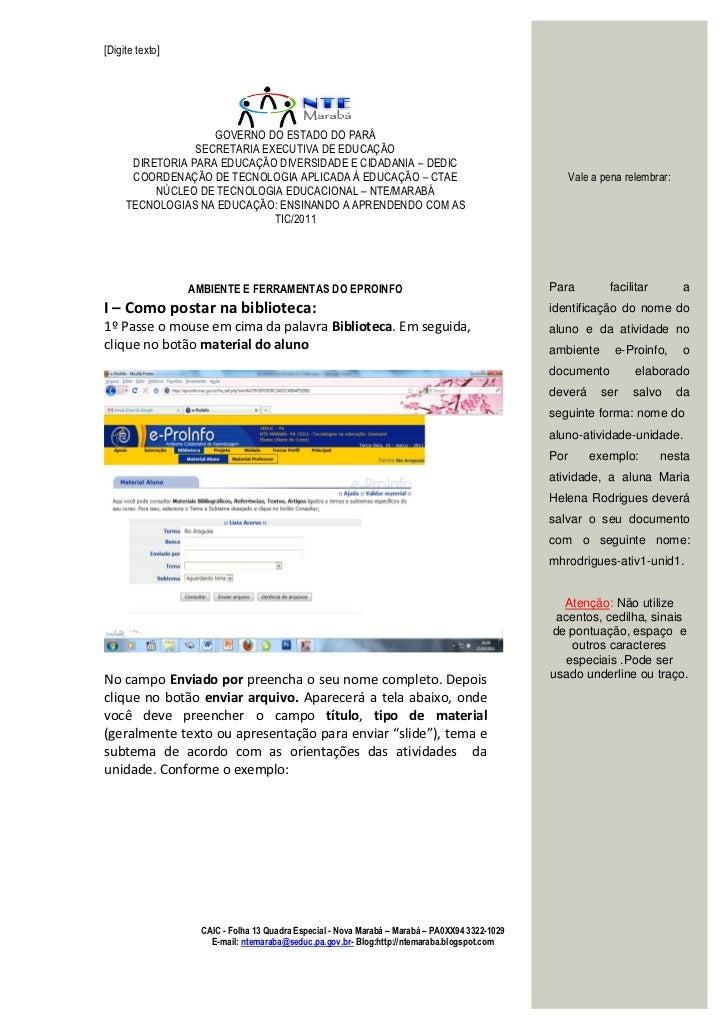 [Digite texto]                    GOVERNO DO ESTADO DO PARÁ                 SECRETARIA EXECUTIVA DE EDUCAÇÃO      DIRETORI...