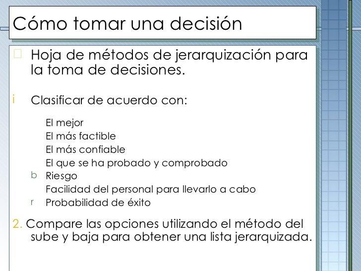 Cómo tomar una decisión <ul><li>Hoja de métodos de jerarquización para la toma de decisiones. </li></ul><ul><li> </li></u...