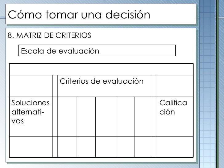 Cómo tomar una decisión <ul><li>8.   MATRIZ DE CRITERIOS </li></ul>Escala de evaluación Criterios de evaluación Soluciones...