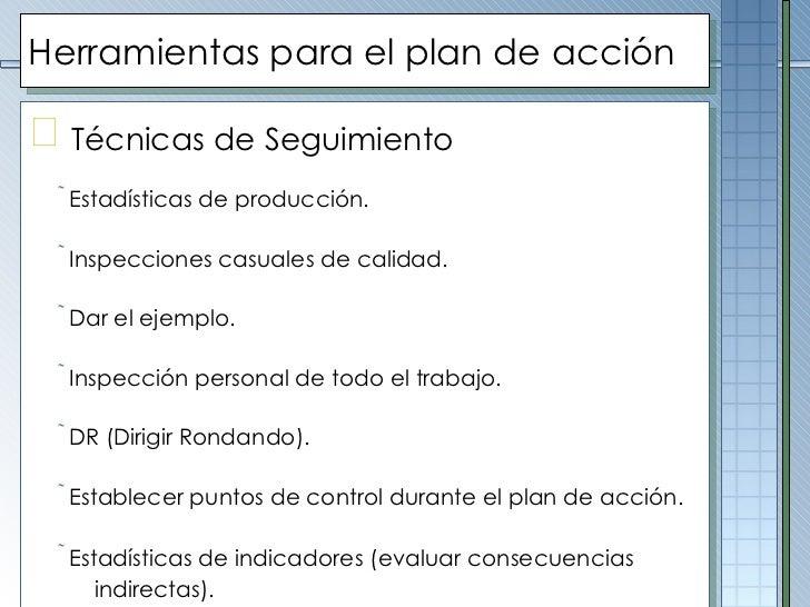 Herramientas para el plan de acción <ul><li>Técnicas de  Seguimiento   </li></ul><ul><ul><li>Estadísticas de producción.  ...
