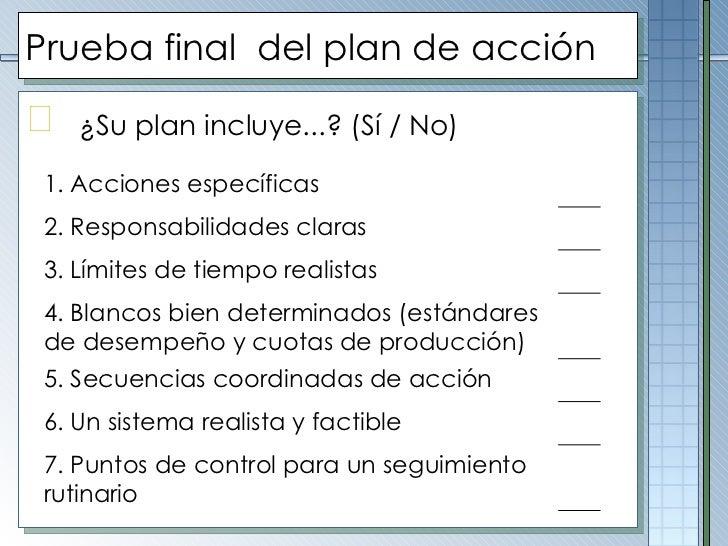 Prueba final  del plan de acción <ul><li>¿Su plan incluye...? (Sí / No) </li></ul>1. Acciones específicas 2. Responsabilid...