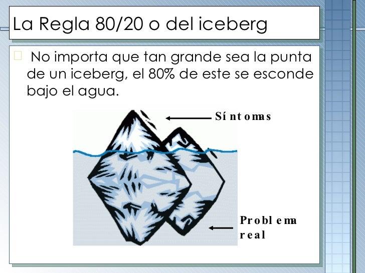 La Regla 80/20 o del iceberg <ul><li>No importa que tan grande sea la punta de un iceberg, el 80% de este se esconde bajo ...