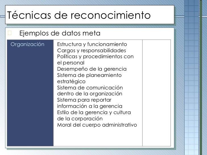 Técnicas de reconocimiento <ul><li>Ejemplos de datos meta </li></ul>Organización Estructura y funcionamiento Cargos y resp...