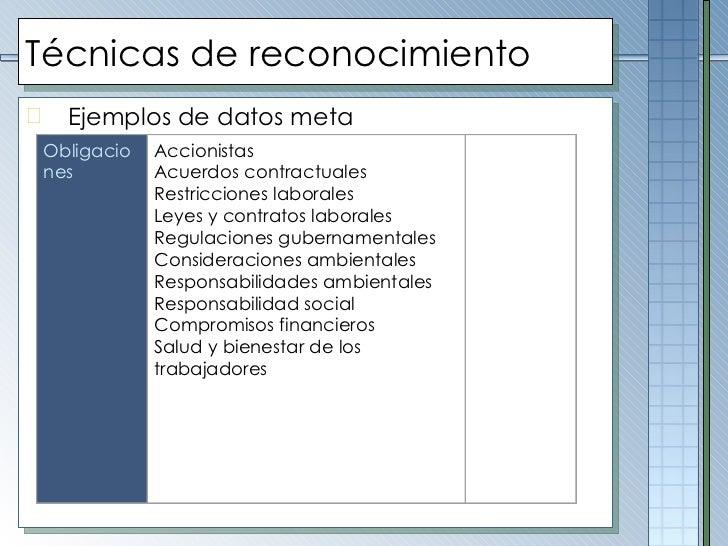 Técnicas de reconocimiento <ul><li>Ejemplos de datos meta </li></ul>Obligaciones Accionistas Acuerdos contractuales Restri...