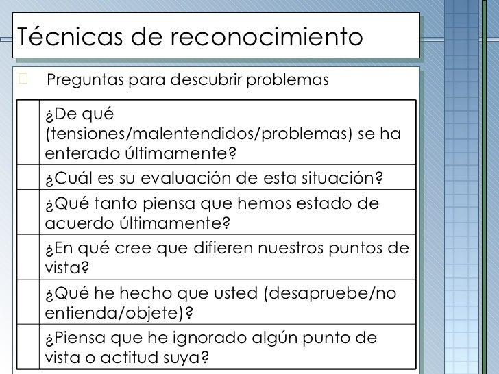 Técnicas de reconocimiento <ul><li>Preguntas para descubrir problemas </li></ul>¿De qué (tensiones/malentendidos/problemas...