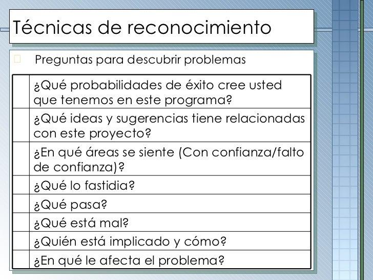 Técnicas de reconocimiento <ul><li>Preguntas para descubrir problemas </li></ul>¿Qué probabilidades de éxito cree usted qu...