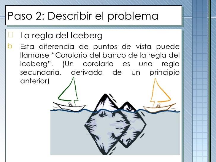 Paso 2: Describir el problema <ul><li>La regla del Iceberg </li></ul><ul><li>Esta diferencia de puntos de vista puede llam...